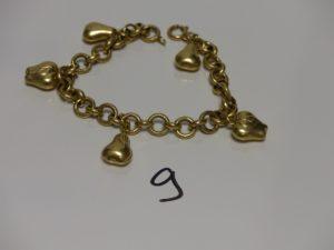 1 bracelet maille jaseron en or, orné de 5 breloques (L21cm, 1 peu cabossé). PB 19,7g