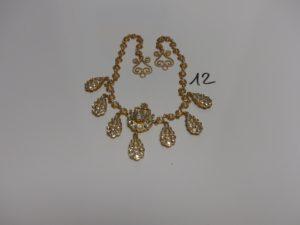 1 collier draperie en or, motifs ornés de strass (Zerouf, pas de fermoir,L37cm). PB 41,2g