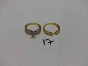 2 bagues en or ornées de pierres (Td56/58). PB 9,2g