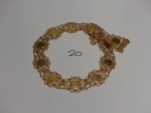 1 ceinture en or à motifs filigranés serti-griffes 13 pièces de 10Frs. PB 141,6g