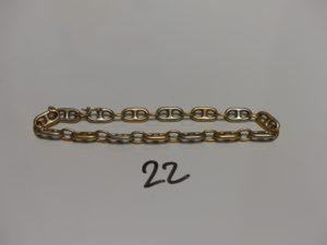 1 bracelet maille grain de café bicolore en or (L23cm). PB 23,9g