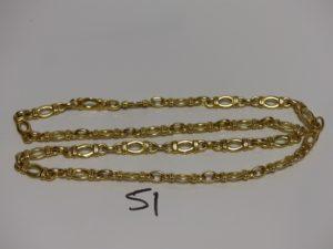 1 collier maille fantaisie en or (L64cm). PB 79,6g