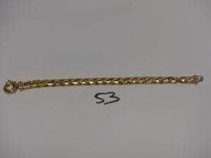 1 bracelet maille palmier en or (cabossé,L16cm). PB 8,5g
