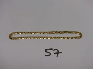 1 bracelet maille haricot usé en or (L19cm,pas de fermoir, ne s'ouvre pas). PB 3,9g