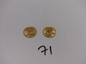2 pièces de 20Frs Suisse en or (1947). PB 12,9g