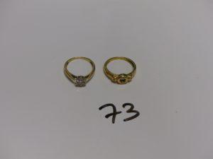 2 bagues en or : 1 ornée d'une petite pierre verte et 2 petits diamants (Td51, choc sur la monture) et 1 ornée de petits diamants (Td51). PB 4,4g