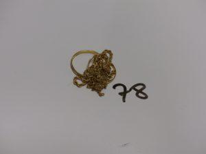 1 lot casse tour or (alliances, chaîne, bracelet). PB 4,6g