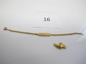 """1 Bracelet en or d'identité gravé """"Xavier""""(L14cm),1bris d'or 22 k mis sousforme de pépite. PB 8,40 g(22 k=4,4g/18 k 4g)."""