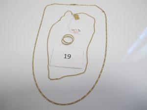 1 Chaine en or maille alternée(L66cm),1 alliance 2 ors 2 anneaux(TD57),1 chaine alliage 9 k(L44cm),1 pendentif à décor d'un parchemin alliage 9k. PB total or+ alliage 9 k =13,2g (or = 9,8g/alliage 9k=3,3g).