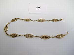 1 Bracelet en or maille filigranée brisé.PB 13,9g.