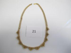 1 Collier plastron en or à décor de petites boules(L42cm).PB 31,5g.