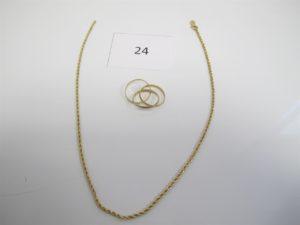 1 Alliance 3 ors(TD52),1 collier en or maille corde brisé.PB 5,9g.