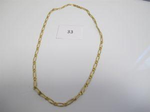1 Collier en or maille gourmette alternée(L60 cm).PB 31,8g.