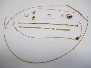 1 Lot de bijoux en or et pierres cassés (composé d'un bracelet d'identité,1 bague 3 anneaux manque pierres, 1 bague corps brisé,1 chaine brisée,1 collier brisé motif pierres vertes,1 chaine brisée,1 bracelet corde usagé,1 boucle pierres, 1 bris d'or,1 pendentif cassé, 1 bris d'or).PB 23,90g.