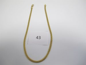 1 Collier en or maille anglaise(L42cm). PB 13g.