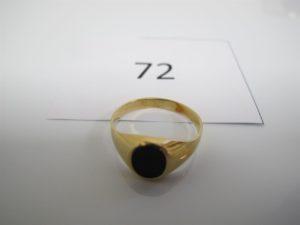 1 Chevalière en or plateau onyx(TD56). PB 2,6g.