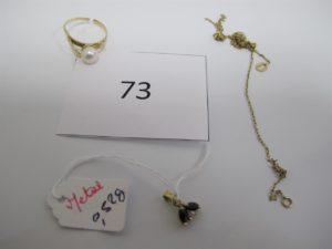 1 Bague en or rehaussée d'une perle corps brisé,1 chaine en alliage 9 k brisée.PB total or et alliage 9 k = 3,1g(Or = 2,1g//Alliage 9k=1g)+1 pendentif pierres en métal pb=0,5g.