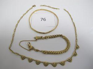 1 Lot de bijoux en or cassés, composé d'un collier draperie filigrané brisé,1 bracelet maille plate usagée,1 bracelet rigide usagé,1 bris d'or.PB 18,9g.