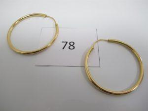 2 Créoles en or (D4,5cm).PB 16,4g.