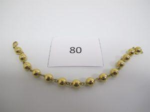 1 Bracelet en or maille boules(L18cm). PB 11,2g.