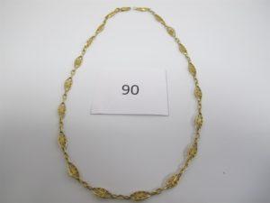 1 Collier en or maille filigranée(L47cm)PB 14,6g.