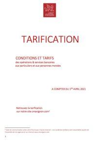 conditions tarifaires applicables au 1er avril 2021