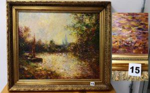 1 Huile sur panneau signée Paul FLAUBERT (1928/1994) représentant un paysage de bateau au bord de l'eau (toile 53x44 cm)