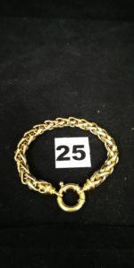 1 Bracelet en or maille palmier bicolore fermoir bouée (L 19cm). PB 24,5g