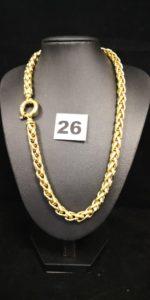 1 Collier en or maille palmier bicolore , fermoir bouée (L 45cm). PB 51,1g