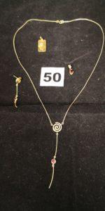 1 Pendant d'oreille spirale, 2 pendentifs et 1 collier à motif spirale ( L 42cm). Le tout en or. PB 6,6g
