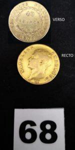1 Pièce de 40fr Napoléon Empereur année 1806. PB 12,8g.