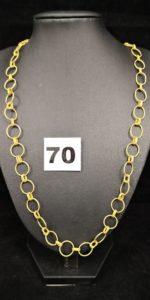 1 Collier en or 20k en maille alternée (L 55cm), fermoir en 18k ( attache à resserrer). PB 17,6g