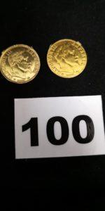 1 pièce 10 fr or 1866 22k. PB 3,1g et 1motif pièce en alliage 585/1000 ( 14k). PB 2,1g (Les 2 avec traces de soudures)