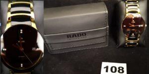 1 Montre d'homme automatique RADO métal doré céramique, 4 index sertis de 8 diamants ( L 19cm)
