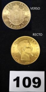 1 Pièce 100fr or Napoleon III second empire (année 1858). PB 32,2g