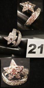 1 Bague comète en or gris sertie de diamants et d'un beau diamant central (TD 51). PB 9,6g