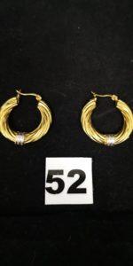 2 Créoles en or bicolore godronnées (L 3cm). PB 3,8g