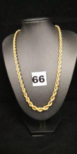 1 Collier en or, maille corde graduée (L 46cm). PB 18,8g