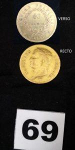 1 Pièce de 40fr Napoléon Empereur au revers empire année 1811. PB 12,8g.
