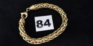 1 Bracelet en or, large maille palmier (L 19cm). PB 22,6g
