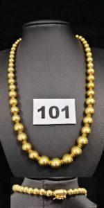 1 Collier boules pleines en chute, en or (L 43cm). PB 48,1g
