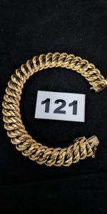 1 Bracelet en or maille américaine semi -granitée (L 20cm). PB 28,7g