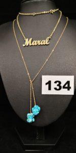 1 Collier en maille en alliage 585/1000 (14k L 45cm). PB 6,4g et 1 Collier en or rehaussée de deux turquoises brutes ( L 46cm). PB 4,1g