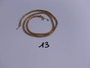 1 chaîne maille colonne en or avec chaînette de sécurité (L61,5cm). PB 21,7g
