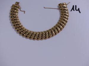 1 bracelet maille américaine en or avec chaînette de sécurité cassée (L20,5cm). PB 34,9g