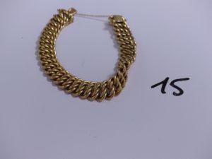 1 bracelet en or maille américaine avec chaînette de sécurité (L19cm). PB 30,4g