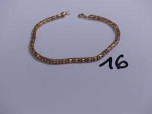1 bracelet cabossé maille colonne en or (L22,5cm). PB 7,7g
