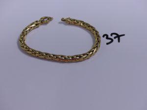 1 bracelet maille palmier en or (abîmé,L19cm). PB 14,2g