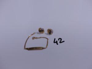1 bracelet gourmette en or (cabossé,L13cm) et 2 boucles en or bicolore ornée de 3 petites pierres bleues et d'un petit diamant (manque 1 fermoir). PB 4,1g