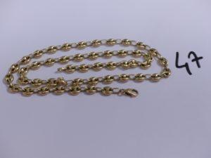 1 chaîne en or maille grain de café (L77cm). PB 24,3g